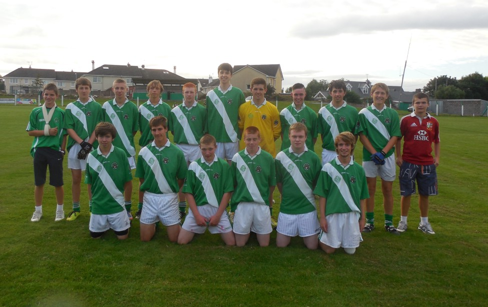 Shamrocks extended panel V Whitescross in Passage, MFC, 9/8/13. Back row, l to r: David Andrews (inj), Cormac Scriven, Eric Desmond, Andrew O Grady, Coby O Grady, Luke Garvan, Rory Horgan, David Raleigh, Michael Hughes, Darragh Scriven, Chris Hayes (inj)  Front, l to r: Brendan Crowley, Sean O Brien, Nathan Hayes, Sean Kidney, Diarmuid Barrett, Brian Coffin.