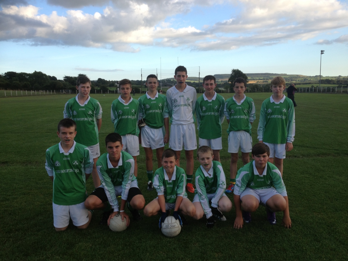 Shamrocks team V St Catherines, 2/9/13. Back row, l to r: Shane Downey, David O'Sullivan, Ruairí Meighan, Shane Flavin, Daniel O'Mahony, Cillian Hayes, Darragh O'Leary.  Front, l to r: Evan Seymour, James Lynam, Dylan O'Flaherty, Cillian O'Mahony, Cathal Murphy.