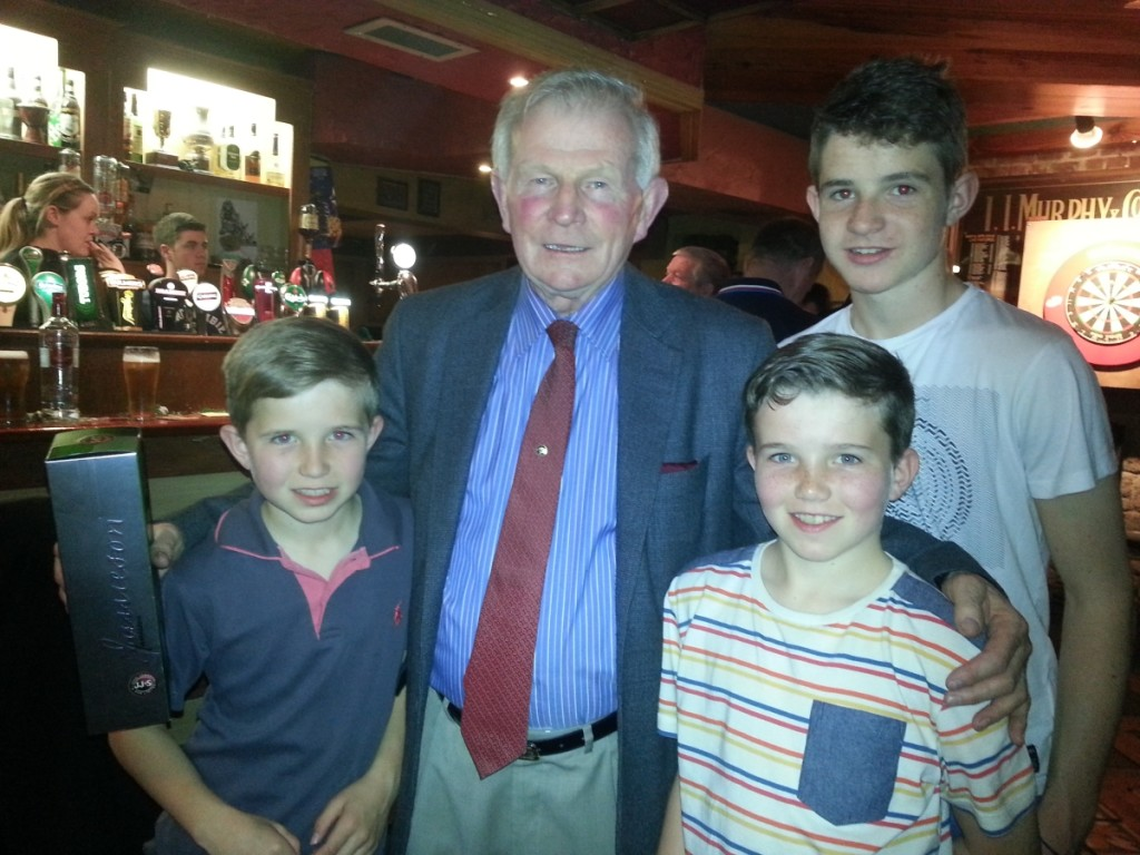 The Andrews brothers with club Treasurer John Twomey at the Darts Fundraiser in the Shamrock Bar.