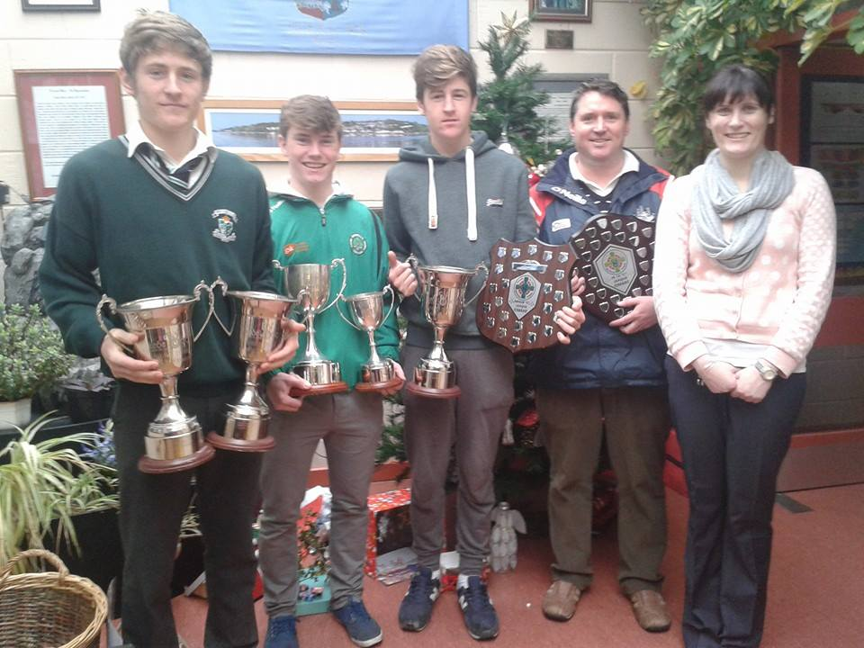 From left: Darragh Scriven (Minors), Aonghus Boland (Minor hurling captain and past pupil of Monkstown NS), Cormac Scriven (U16 and Minors), Pa Andrews (Club Coaching Officer and past pupil of Monkstown NS) and Ciara Ní Bhuaigh (Príomhoide of Scoil Barra Naofa, Monkstown NS)