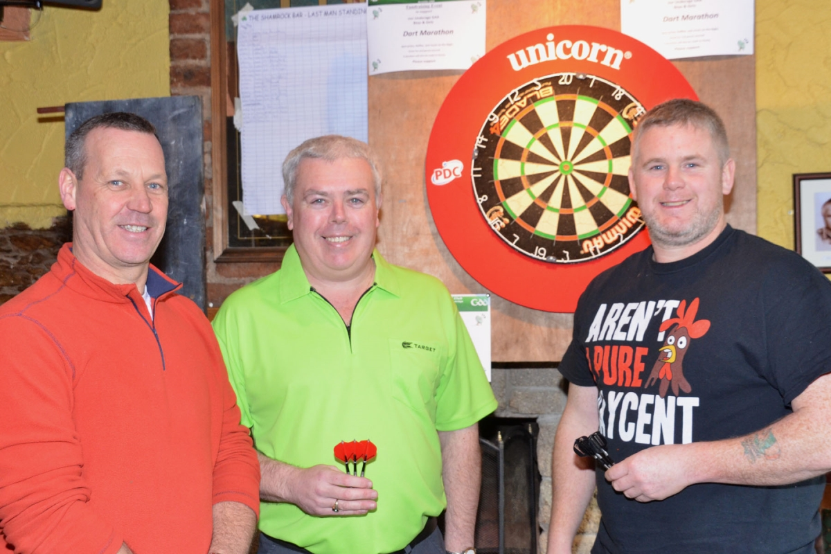 Members of the Shamrock Bar Darts Team: Sammy O'Driscoll, John Twomey (Ring) and Jason Kavanagh at our Darts Marathon in the Shamrock Bar, 7/2/15