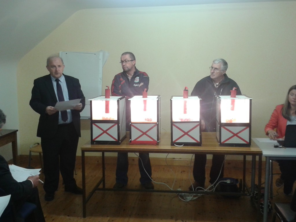 Co Board Hon Treasurer Pearse Murphy, Shamrocks Secretary Dave O'Flaherty and Underage Secretary Paddy Andrews make the draw in the Grace McCarthy Rooms.