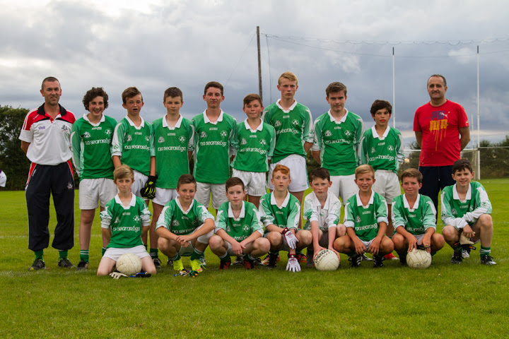 Shamrocks u14's V St Catherines, 23/7/15 in Shanbally. Back row, l to r: Jed O Flaherty (mentor), Sam Geary, Andrew Egan, Sean Browne, Billy Hughes, Dylan O Flaherty, Aaron Twomey, Evan Seymour, Robert Van Pelt, Tim Hayes (mentor). Front, l to r: Adam Maye, Dylan Gregson, Ronan Connolly, Conor Hourihan, Cian O Flaherty (GK), Sean Andrews, Harry Andrews and Adam McSweeney. Shamrocks won by 7-19 to 3-4.