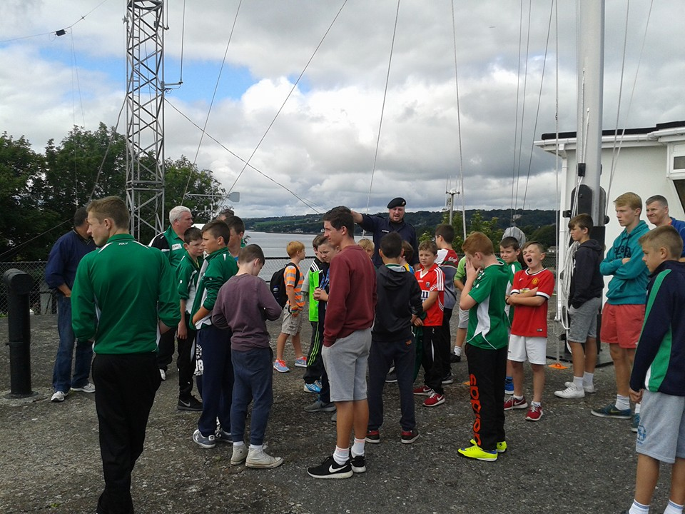 The lads at the lookout tower on Haulbowline.