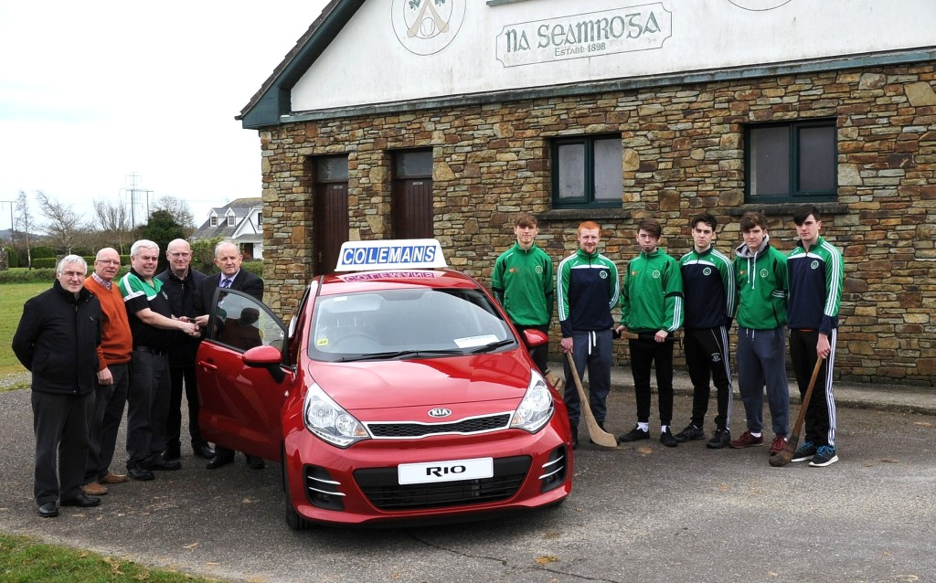 John Twomey (Ringaskiddy) receiving the keys to a new Kia Rio from Pearse Murphy (Treasurer Cork County Board) and John Coleman (Sponsors, Colemans Motors Milstreet). Also included are Paddy Andrews (underage Treasurer), Pat McCarthy (Club Chairman) and some of our u21 players Andrew O'Grady, Coby O'Grady, Brendan Crowley, Shane Kelleher, Mark Hitchmough and James Lynam.