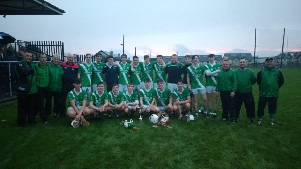 Winning Panel V Grenagh, 12/9/16. Back row, l to r: Kieran Lynam, Kevin O'Grady, Peter Crowley (all mentors), Liam Shanahan (chairman Rebel Óg East), Damien Allen, James Lynam, Cillian Hayes, Daniel O'Mahony, Ruairí Meighan, David O'Sullivan, David Barry, Criostóir Corkery, Cormac Scriven, Mark Hitchmough, Matthew Fleming and three mentors Dick Andrews, David Nolan and John Jordan. Front row, l to r: Cathal Murphy, Shane Downey, Chris Hayes, Andrew O'Grady, Joseph O'Keeffe, David Andrews, Shane Flavin.